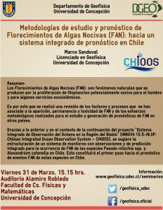 La actividad se llevará a cabo el día viernes 31 de marzo a las 15.15 hrs , en el Auditorio Alamiro Robledo de la Facultad de Cs. Físicas y Matemáticas de la Universidad de Concepción.